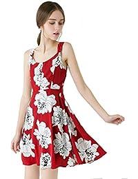 Vestido de Mujer Faldas A-Line Sin Mangas Alta Cintura Flores Cuello  Redondo Vestido de una Pieza Playa Agraciado… 93e38a5bfded