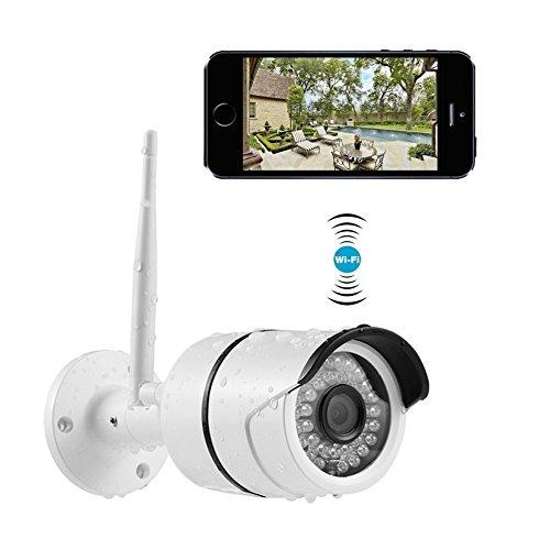 Wlan IP Outdoor Kamera, Security Camera, 720P WIFI Überwachungskamera, Wlan Sicherheitskamera Kabellose Netzwerkkamera P2P Nachtsicht und Bewegungserkennungen mit deutscher APP/Anleitung/Support