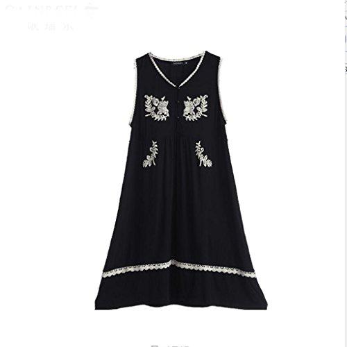 Pyjamas ZHAOJING Sommer süße Bestickt sexy Weste Lady Sleep Rock Home Service Unterwäsche Kleid (Farbe : Schwarz, größe : S) (Weste Womens Bestickte)