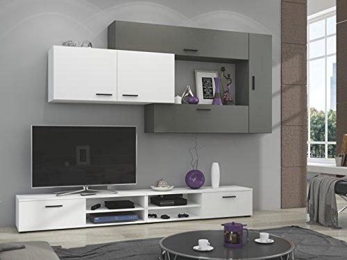 Wohnwand Anbauwand grau weiß Schrankwand TV Schrank Vitrine Neu Tonala