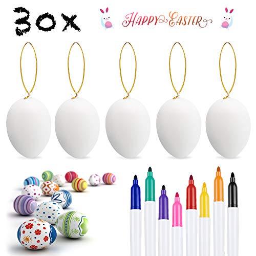Weego 30 x uova di pasqua decorate, appendere le uova di plastica con la corda, pittura di artigianato fai da te di pasqua per la decorazione e regalo, con 8 pennelli