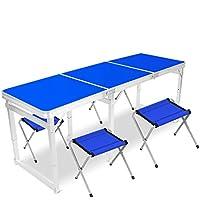 Yuan Table Mesa Plegable Cuadrada de Madera - Silla de 6 pies con manija - y Altura Ajustable Pierna de Aluminio Acampar al Aire Libre Pesada - Mesa de Comedor Plegable - Mesa de la computadora/Desk