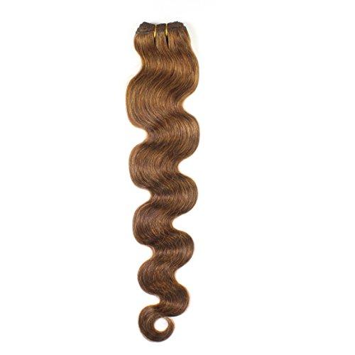 hair2heart 100g Echthaar-Tresse - gewellt - 40 cm - #4 braun - Nähen 100 Echthaar Extensions
