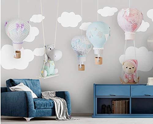 VVBIHUAING 3D Tapete Wand Wandbilder Aufkleber Dekorationen Bär Heißluftballon Kinderzimmer Wohnzimmer Hintergrund Kunst Dekorative Kinder Schlafzimmer (W) 400x(H) 280cm -