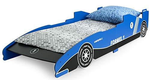 Leomark letto lettino per bambini in legno cassettone e materasso magnifiche stampe 200x90 colore blutema sportivo di formula 1