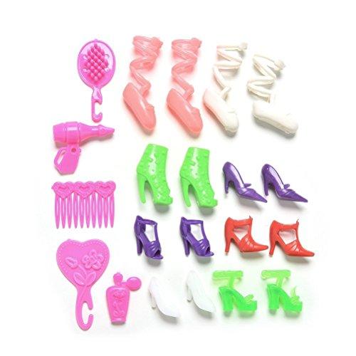 BESTIM INCUK® 21 Piezas/set Muñeca Accesorios Perfume Espejo Peine pelo secador Zapatos para muñecas Barbies