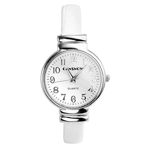 JSDDE Montre Bracelet Manche Ouverte en PU Synthétique Blanc Mode pour Femme