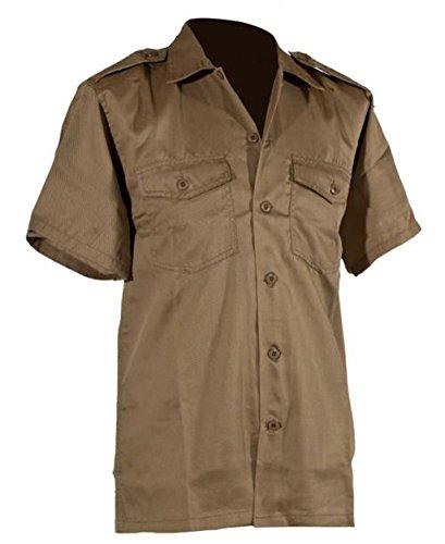 US Army hochwertiges langärmliges oder kurzärmliges Hemd Größe S-XXXXXL Übergröße Farbe Schwarz oder Khaki (XXXL, Kurzarm Khaki) (Bdu Ripstop Us Shirt)