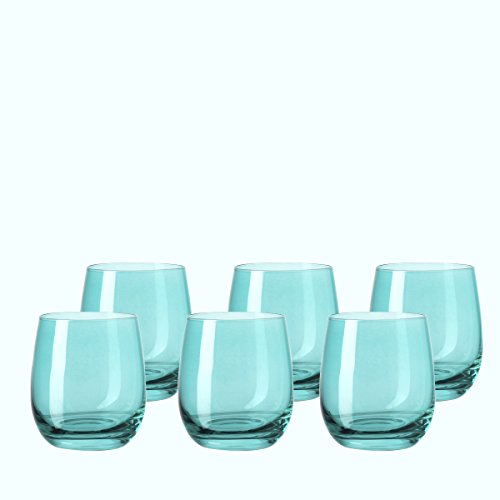 klein Laguna, 6-er Set, 360 ml, türkisfarbenes Kristall-Glas mit Colori-Hydroglasur, 018197 ()