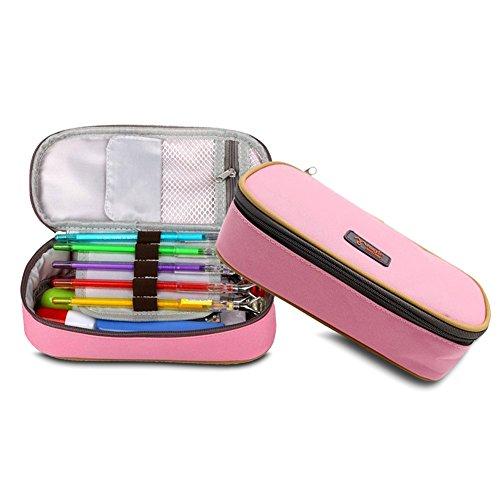 Preisvergleich Produktbild Federmäppchen Pencil Case Pen Pocket Bleistift Federtasche Bag Kosmetik Make-up Bag Tool Bag Aufbewahrungstasche Geldbeutel Münzen Beutel benutzet werden(Rosa)