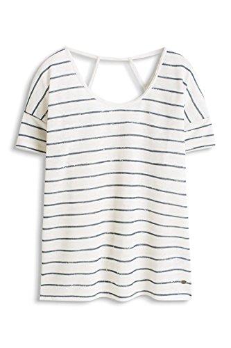 edc by Esprit 036CC1K007 - T-shirt - À rayures - Manches courtes - Femme Blanc (OFF WHITE 110)