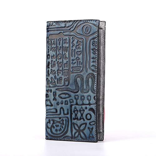 Olprkgdg Frauen echtes Leder Brieftasche Damen Kreditkarte Clutch Holder Handtasche Geldbörse (Color : Blue)