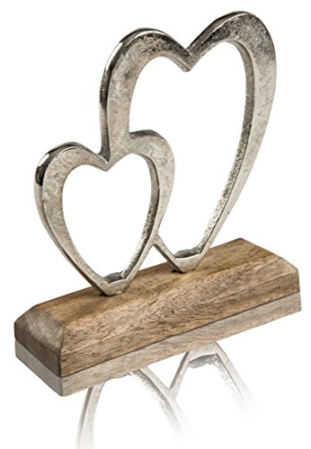 CHICCIE Herzen auf Mangoholz Fuß - 17cm - Gebürstetes Metall Deko Herz