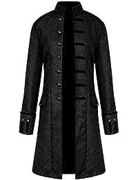 010cced3d6eed9 Zolimx Cappotto Lungo degli Uomini, Cappotto Lungo da Uomo Steampunk Gothic  Vintage Giacca Uomo Inverno