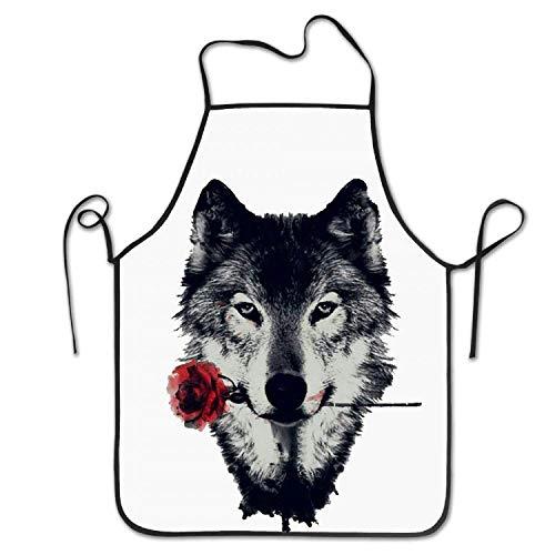 HTETRERW Rose and Wolf Women's Men's Funny Creative Print Cooking - Haar Stylist Kostüm