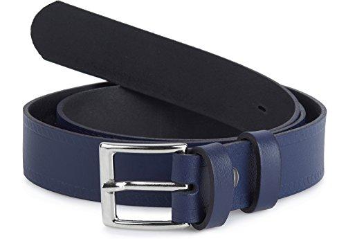 Ladeheid cintura per bambini in 100% vera pelle k1d5 (blu marino-2, 70 cm (lunghezza totale 89 cm))