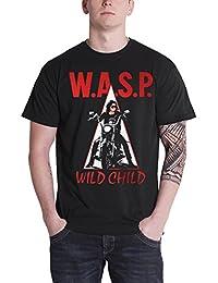 WASP T Shirt Wild Child The Last Command Band Logo offiziell Herren Nue Schwarz
