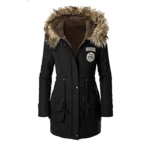 CRAVOG Mujer Chaqueta Larga con Capucha de Abrigo de Lana Cazadora Jacket Prendas de Otono y invierno