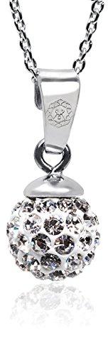 modabilé Damen Halskette 45cm Mit Kugelanhänger Rund, Funkelnd & Glitzernd | Original 925 Sterling Silber Ankerkette | Inkl. Etui & Zertifikat | Made In Europe
