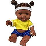kingko Poupée Afro-américaine réalistes 10 Pouces bébé poupées pour Enfants Jouets pour Enfants Bébé jouet de poupée africain de jouet de poupée noire (Jaune)