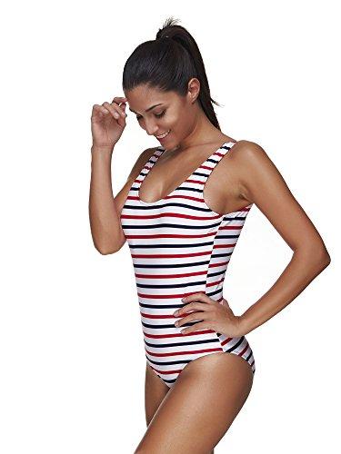 BaronHong Frauen One Piece Badeanzug Badeanzüge Fashion Sexy Striped Bikini Streifen