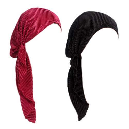 Boboder Frauen Chemo Hüte Vor - Gebunden Beanie Cap Elastic Long Tail Turban Cap für Krebspatienten,Haarausfall,Schlaf 2 Pack (Frauen Hut -)