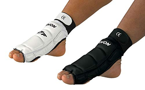 Taekwondo Fußschützer CE weiß oder schwarz (Schwarz, S)