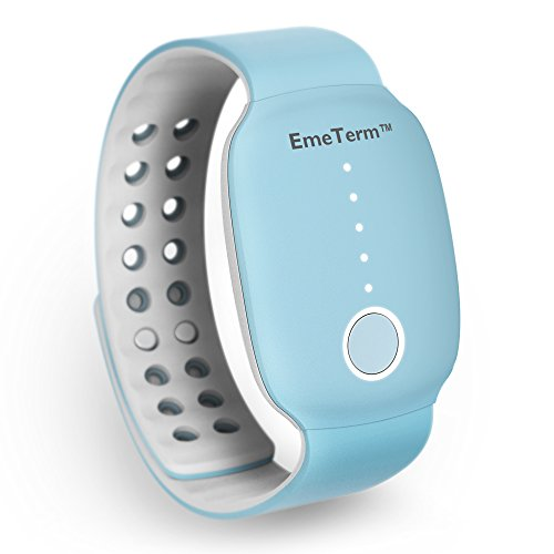 EmeTerm Antiemetic Electrode Stimulator Morning Sickness Motion Travel Sickness Nausea Vomit Relief Rechargeable No Gel Drug Free Blue Wrist Bands Without Side Effects