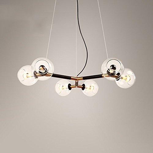 HOMEE Nordic kreative LED Glaskugel Eisen Beleuchtung Esstisch Lampen Wohnzimmer Restaurant Gold Kronleuchter (Chinesischen Runden Esstisch)