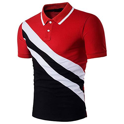 feiXIANG Regular Fit T-Shirt 2019 Streifen Patchwork Business Bluse Kurzarm Button kostüm ()