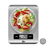 Uten Báscula Electrónica Digital(5kg, 0.1oz/1g)Balanzas de Cocina de Acero Inoxidable con Pantalla LCD Báscula de Cocina de Agua, Leche y Alimentos, 16.8 x 21.8 x 1.2 cm