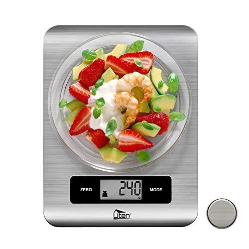 Uten Báscula Electrónica Digital(5kg, 0.1oz/1g)Balanzas de Cocina de Acero Inoxidable con Pantalla...