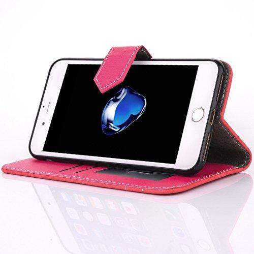 GHC Cases & Covers, Für iPhone 7 Plus Retro Verrückte Pferd Textur Kontrast Farbe Horizontale Flip Leder Tasche mit Halter & Card Slots & Wallet & Photo Frame & Lanyard ( Color : Red ) Red