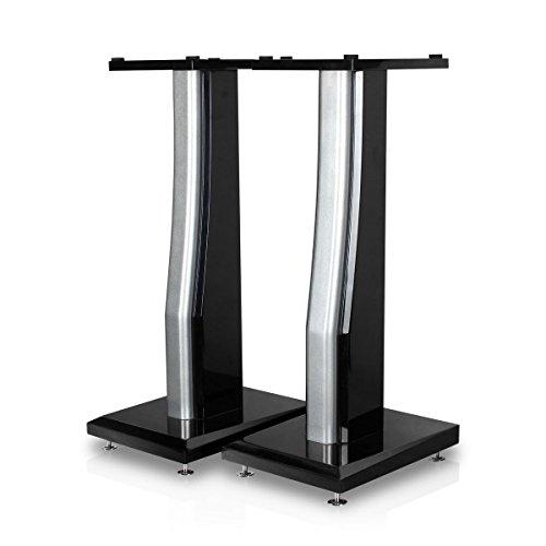 minify BS-S7-1 Paar hochwertige MDF Boxenständer in schwarz/Silber Hochglanz, sehr stabil - ideal für hochwertige Boxen -
