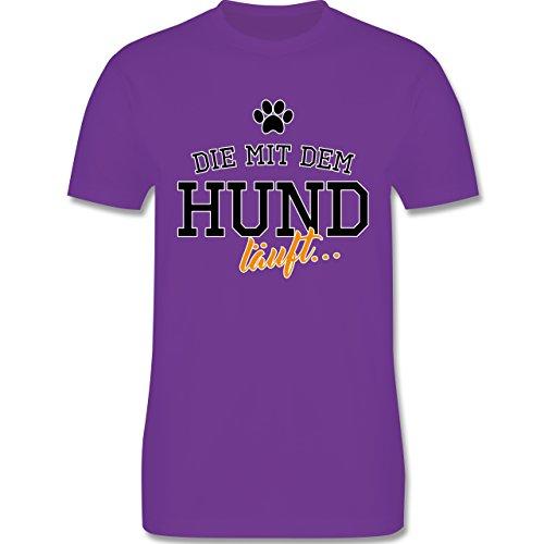 Hunde - Die mit dem Hund läuft - Herren Premium T-Shirt Lila