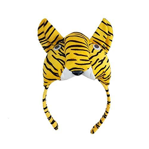 der Tier Kostüm Set mit Tiger Ohren Stirnband Schwanz Fliege und Handschuhe für Halloween Party Cosplay Verkleidung ()