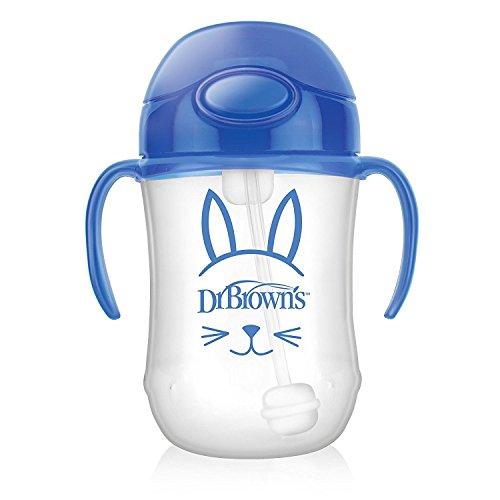 Dr Brown 's del bebé Primera Copa de paja, 270ml, azul