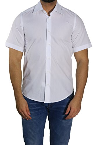 MUGA Homme Chemise manche court Cintreé Blanc