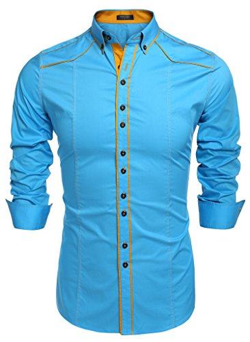 Coofandy camicie uomini casual cotone manica lunga colletto dritto button down cielo blu s