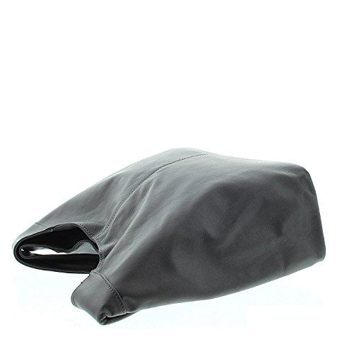 IO.IO.MIO Damen Ledertasche Nappa Shopper Schultertasche mittelgroß lässiges Design Farbwahl dunkelblau marine grau
