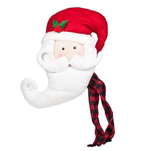 JWM Oxbay Santa Claus Kopf mit Buffalo Plaid Schal 17x 12Plüsch Stoff Christbaumspitze