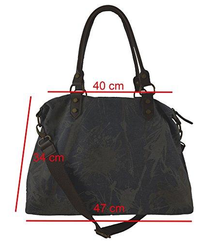 Canvas Echtleder Shopper Damenhandtasche | jede ein Unikat! Brandneu aus Italien Schwarz V.1