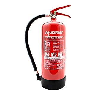 ANDRIS® Feuerlöscher 6kg ABC Pulverlöscher EN3 mit Manometer &. Standfuß, Löschmittel:ABC Pulver