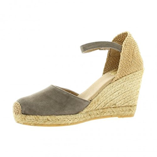 Pao Espadrille cuir velours taupe Taupe