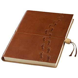 Amarcord Embossed Leather Notebook with Wooden Bead Closure - Footprints