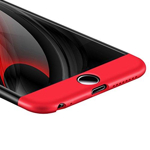 Coque Détachable iPhone 6S Plus, Bonice iPhone 6 Plus Coque Matte Full body Coque Etui de Protection [Séparable] Ultra Mince Fine 0,3 mm Slim Léger Coque [3 en 1] Cover Case Anti-Scratch Hull Couvertu A - Noir et Rouge