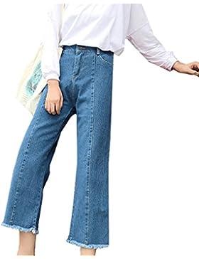 Pantalones vaqueros ocasionales de la primavera de las mujeres de cintura alta Vintage vaqueros rectos flojos...