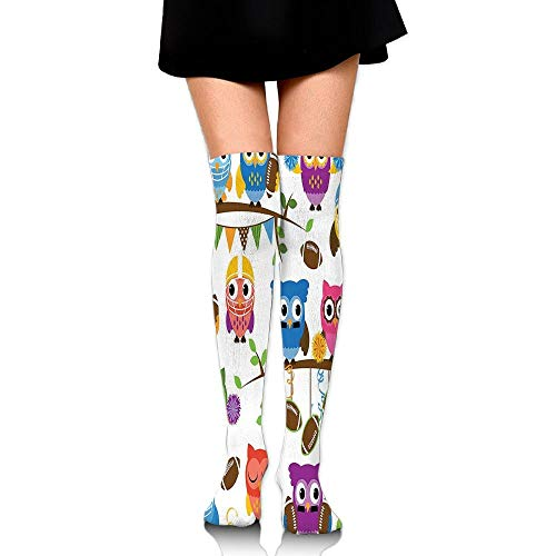 Casepillows Sporty Owls Cheerleader League Team Helmet Coach Football Sports Women's Fashion Over The Knee High Socks (60cm)