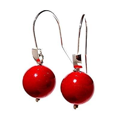 rouge solide en argent sterling 925 boucles d'oreilles cadeau pour elle