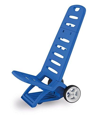 Spiaggina comfort adriatic in resina colore blu resistente ripiegabile con ruote e gancio ideale per lido mare spiaggia